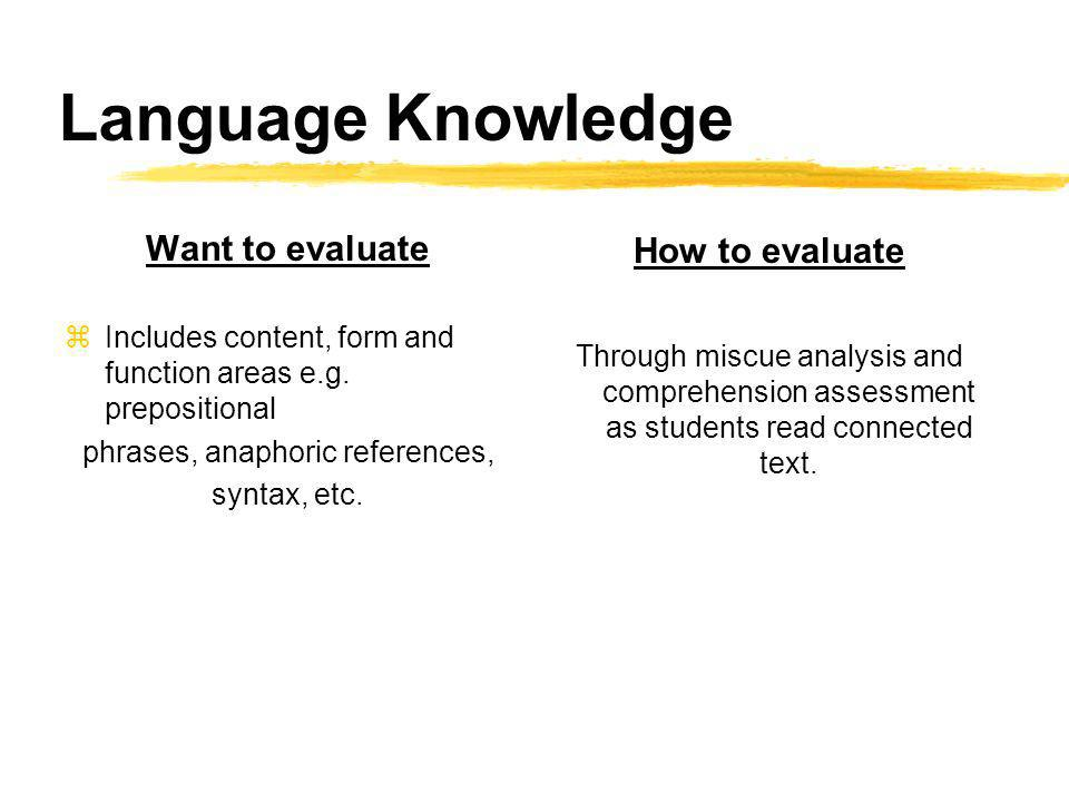 Language Knowledge Want to evaluate zIncludes content, form and function areas e.g.