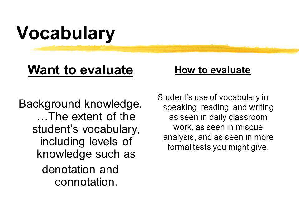 Vocabulary Want to evaluate Background knowledge. …The extent of the students vocabulary, including levels of knowledge such as denotation and connota
