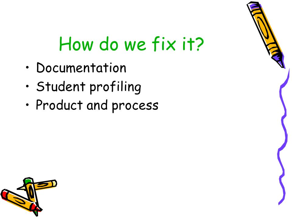 How do we fix it Documentation Student profiling Product and process