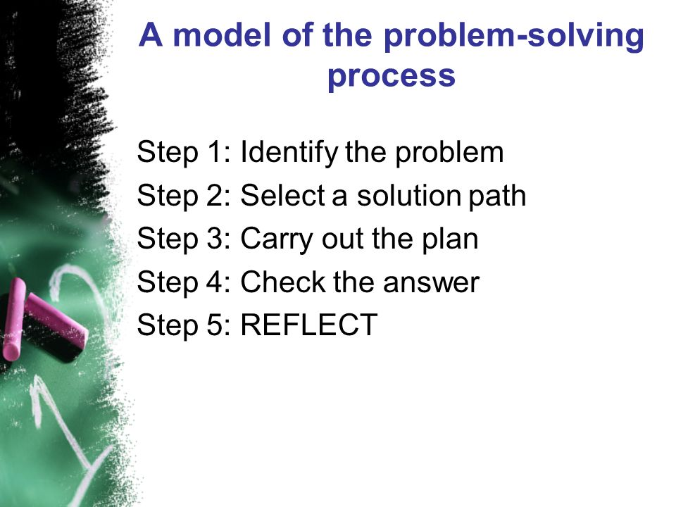 A model of the problem-solving process Step 1: Identify the problem Step 2: Select a solution path Step 3: Carry out the plan Step 4: Check the answer