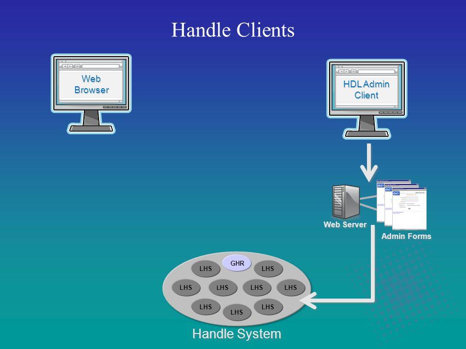 Handle Clients Handle System Web Server Admin Forms HDL Admin Client HDL Admin Client Web Browser Web Browser