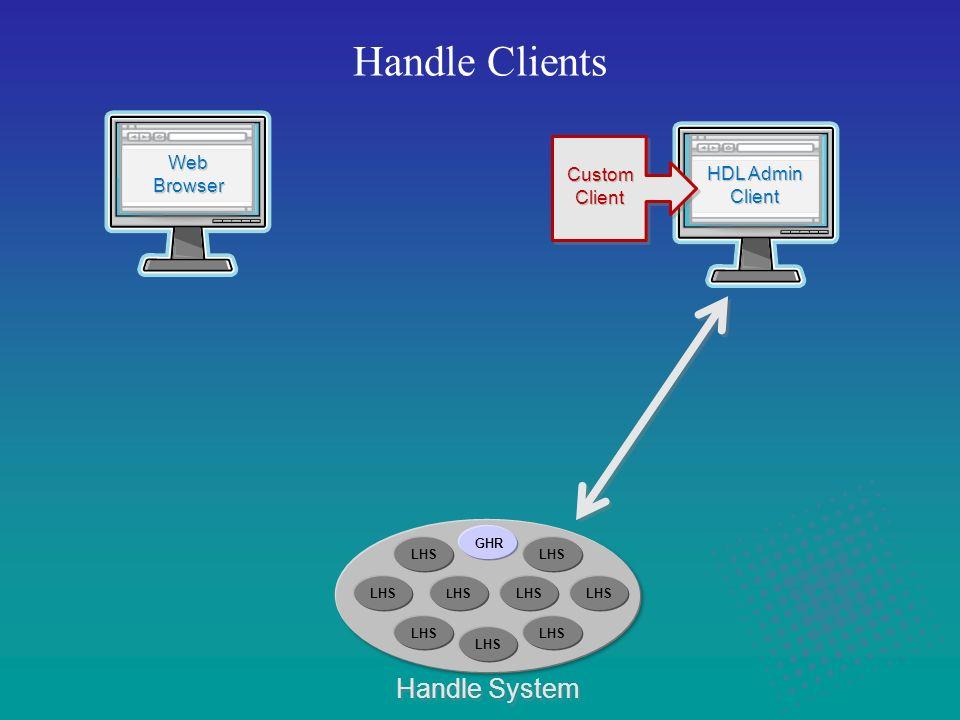 Handle Clients Handle System HDL Admin Client HDL Admin Client Custom Client Custom Client Web Browser Web Browser