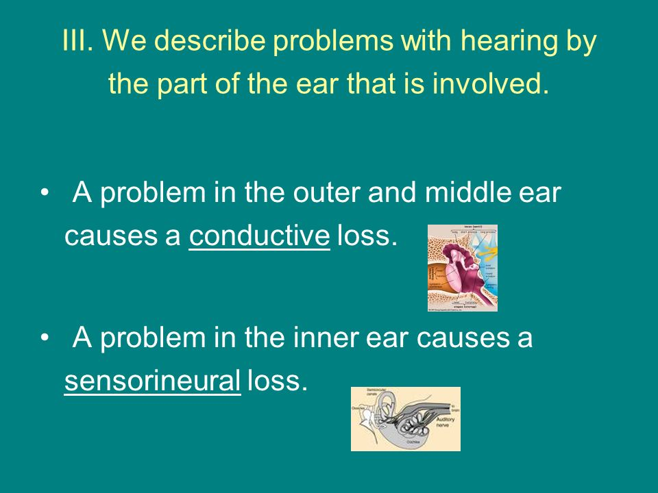 III. We describe problems with hearing by the part of the ear that is involved. A problem in the outer and middle ear causes a conductive loss. A prob