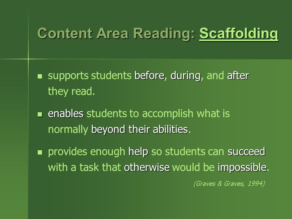 Content Area Reading: Scaffolding Scaffolding before duringafter supports students before, during, and after they read.
