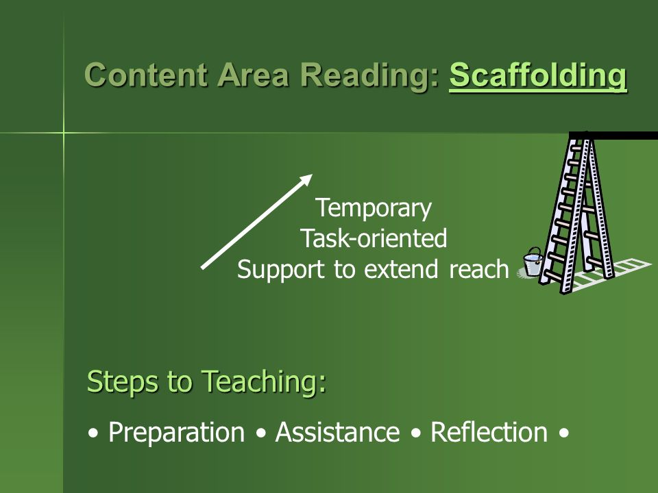 Content Area Reading: Scaffolding Scaffolding Temporary Task-oriented Support to extend reach Steps to Teaching: Preparation Assistance Reflection