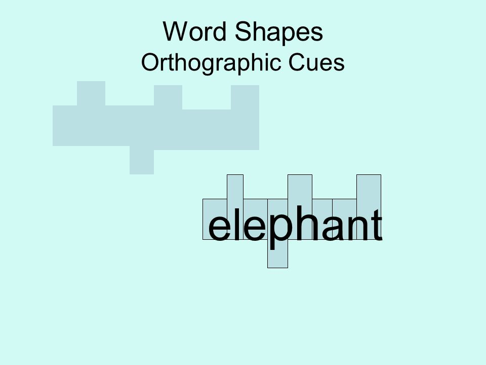 Word Shapes Orthographic Cues ele ph ant