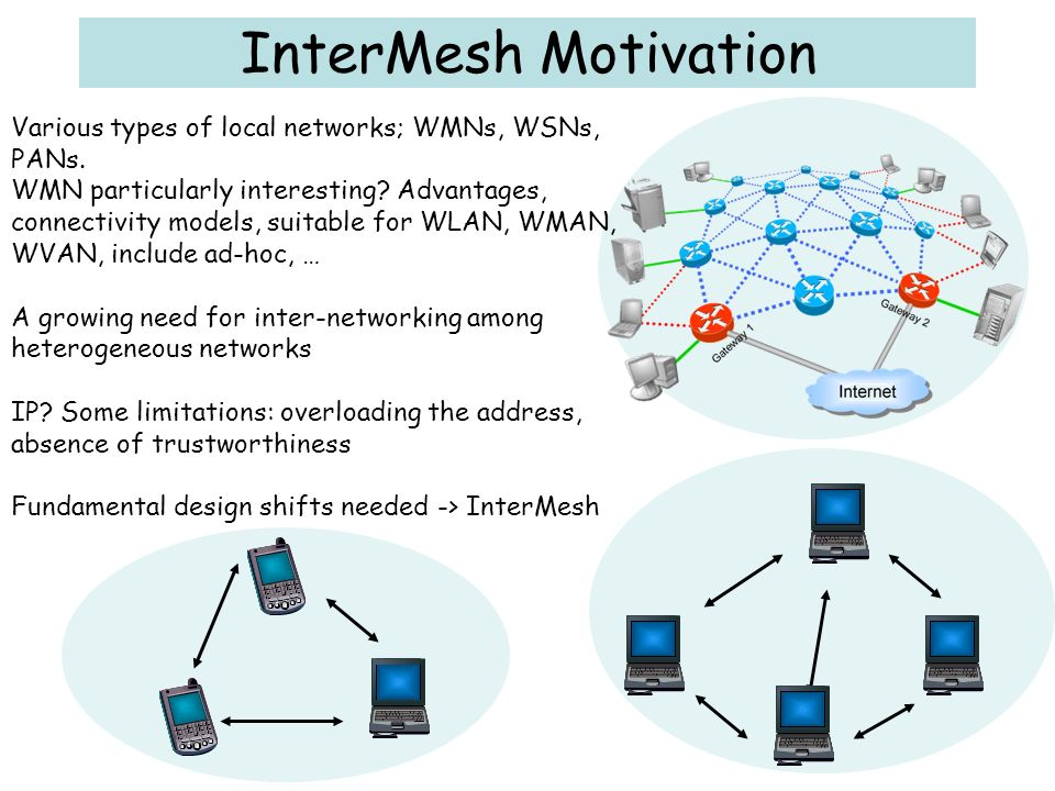 InterMesh Motivation Various types of local networks; WMNs, WSNs, PANs.