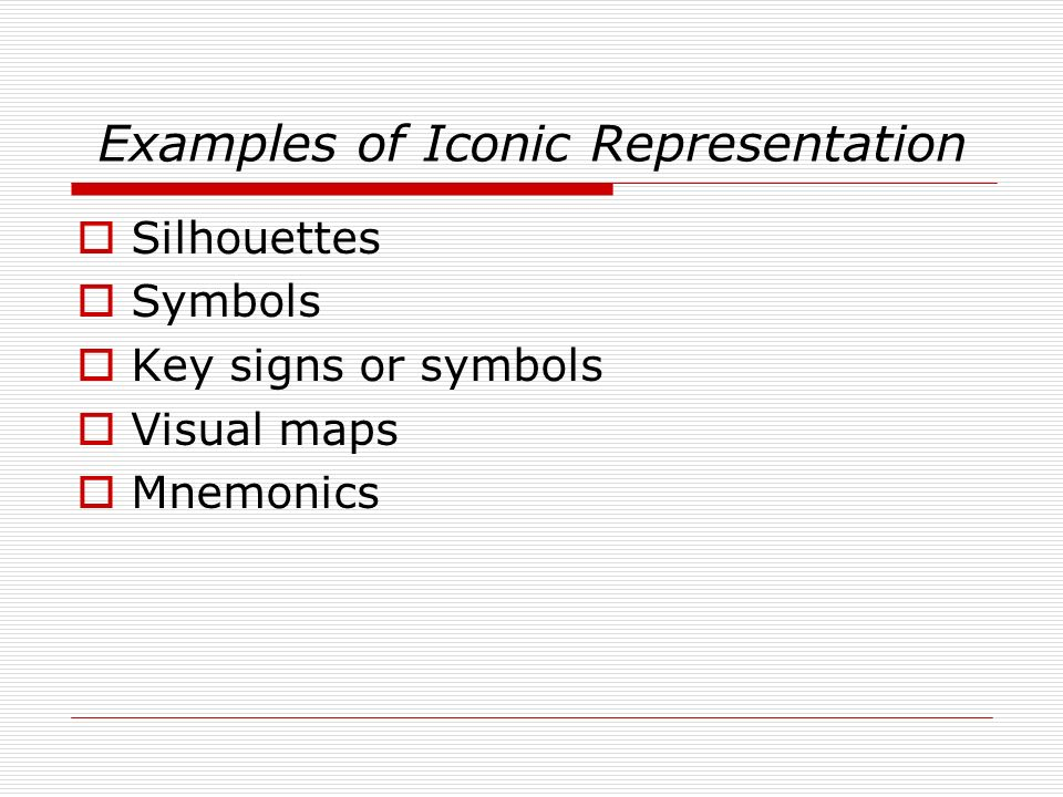 Examples of Iconic Representation Silhouettes Symbols Key signs or symbols Visual maps Mnemonics