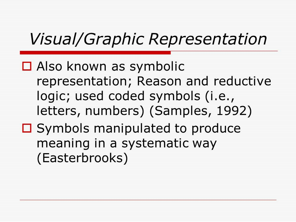 Visual/Graphic Representation Also known as symbolic representation; Reason and reductive logic; used coded symbols (i.e., letters, numbers) (Samples,