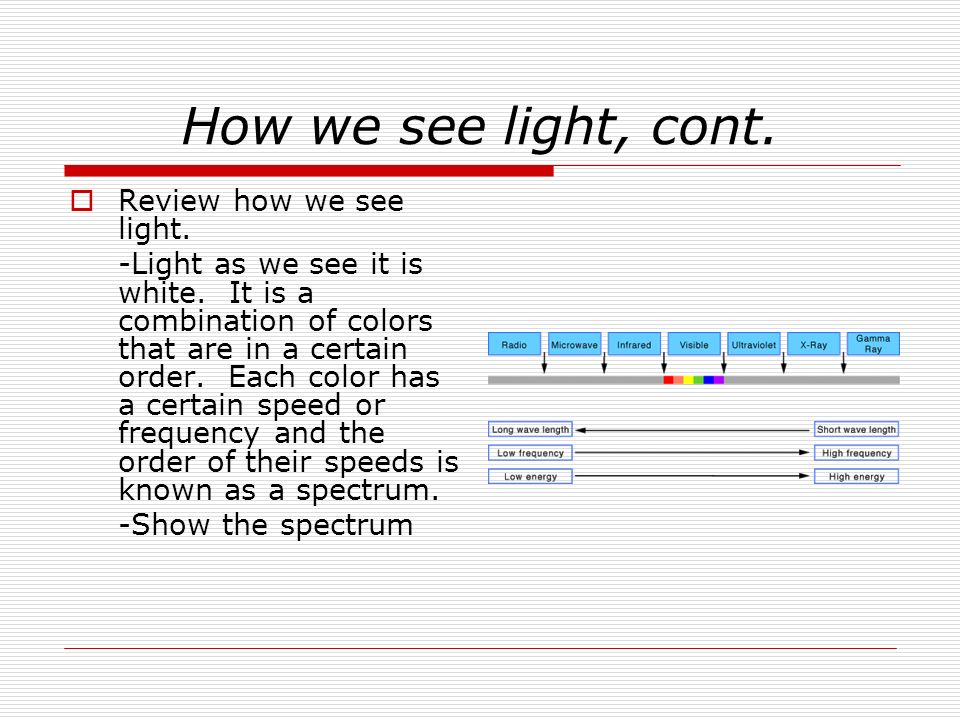 How we see light, cont. Review how we see light. -Light as we see it is white. It is a combination of colors that are in a certain order. Each color h