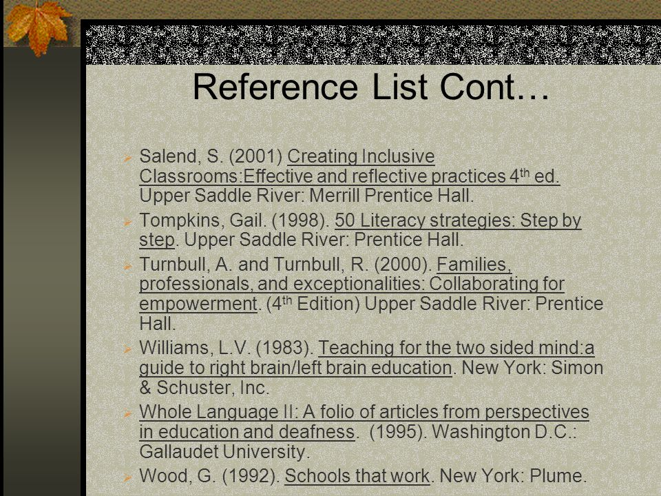 Reference List Cont… Salend, S. (2001) Creating Inclusive Classrooms:Effective and reflective practices 4 th ed. Upper Saddle River: Merrill Prentice