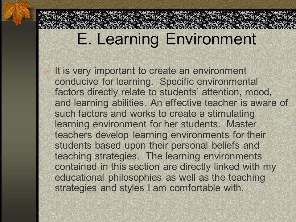 E.Learning Environment It is very important to create an environment conducive for learning.