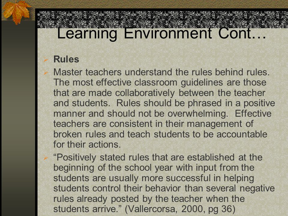 Learning Environment Cont… Rules Master teachers understand the rules behind rules.