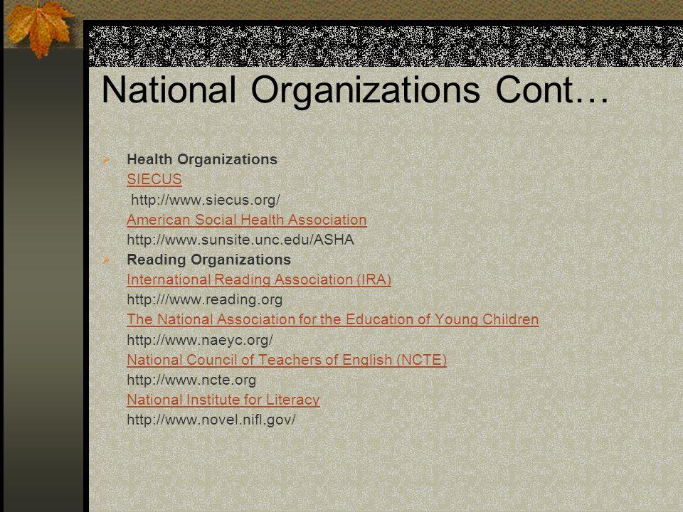 National Organizations Cont… Health Organizations SIECUS http://www.siecus.org/ American Social Health Association http://www.sunsite.unc.edu/ASHA Rea