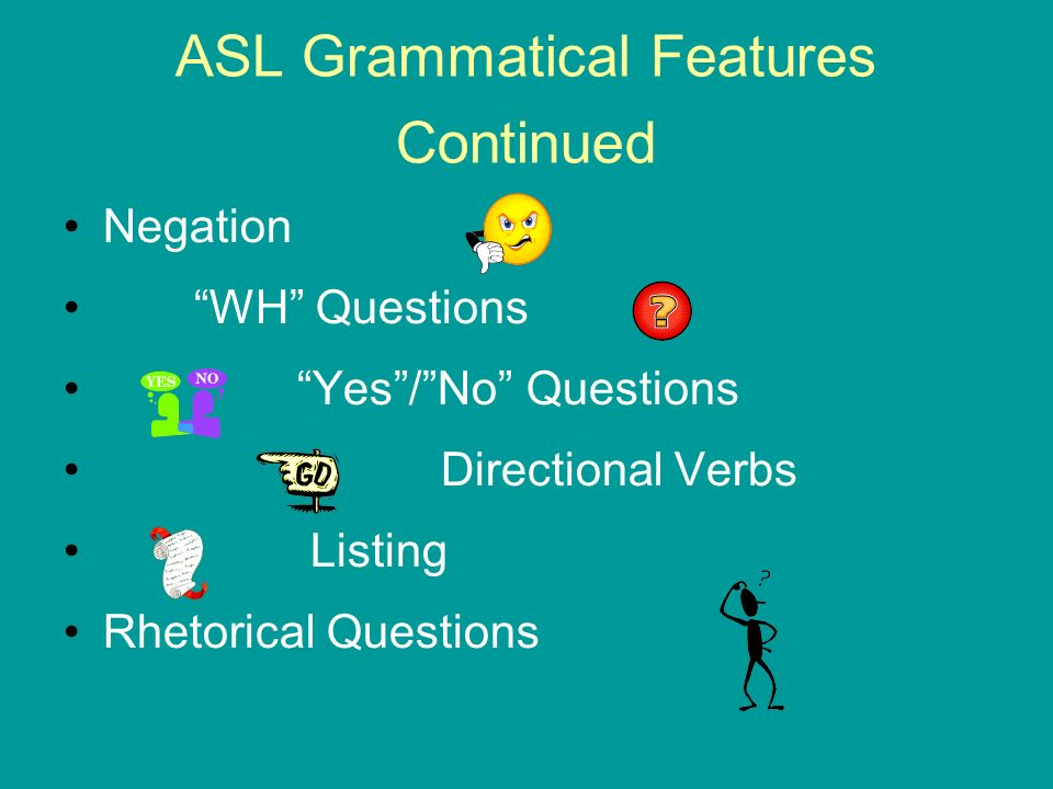 ASL Grammatical Features Continued Negation WH Questions Yes/No Questions Directional Verbs Listing Rhetorical Questions