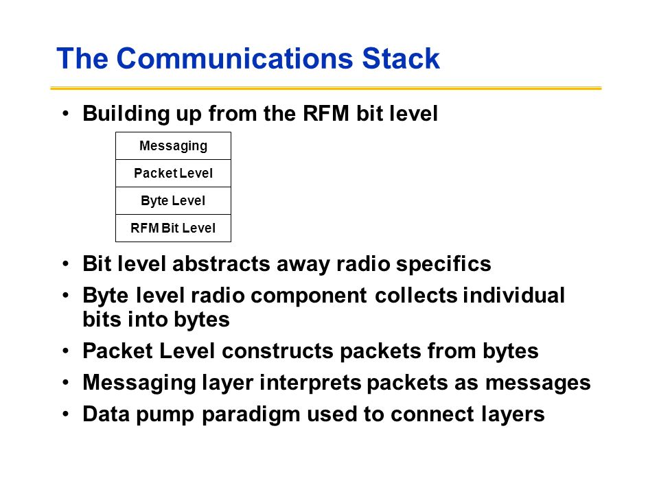 The Communications Stack Building up from the RFM bit level Bit level abstracts away radio specifics Byte level radio component collects individual bits into bytes Packet Level constructs packets from bytes Messaging layer interprets packets as messages Data pump paradigm used to connect layers RFM Bit Level Byte Level Packet Level Messaging