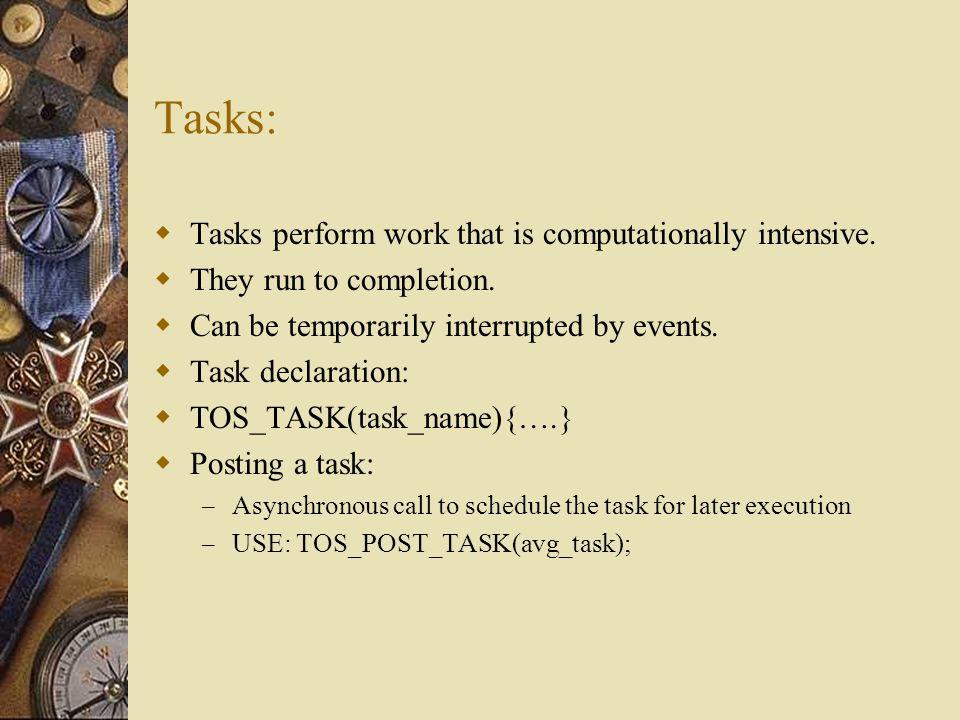 Tasks: Tasks perform work that is computationally intensive.