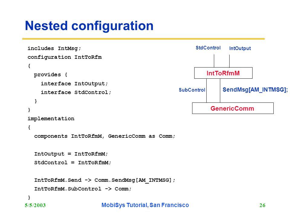 5/5/2003MobiSys Tutorial, San Francisco26 Nested configuration includes IntMsg; configuration IntToRfm { provides { interface IntOutput; interface Std