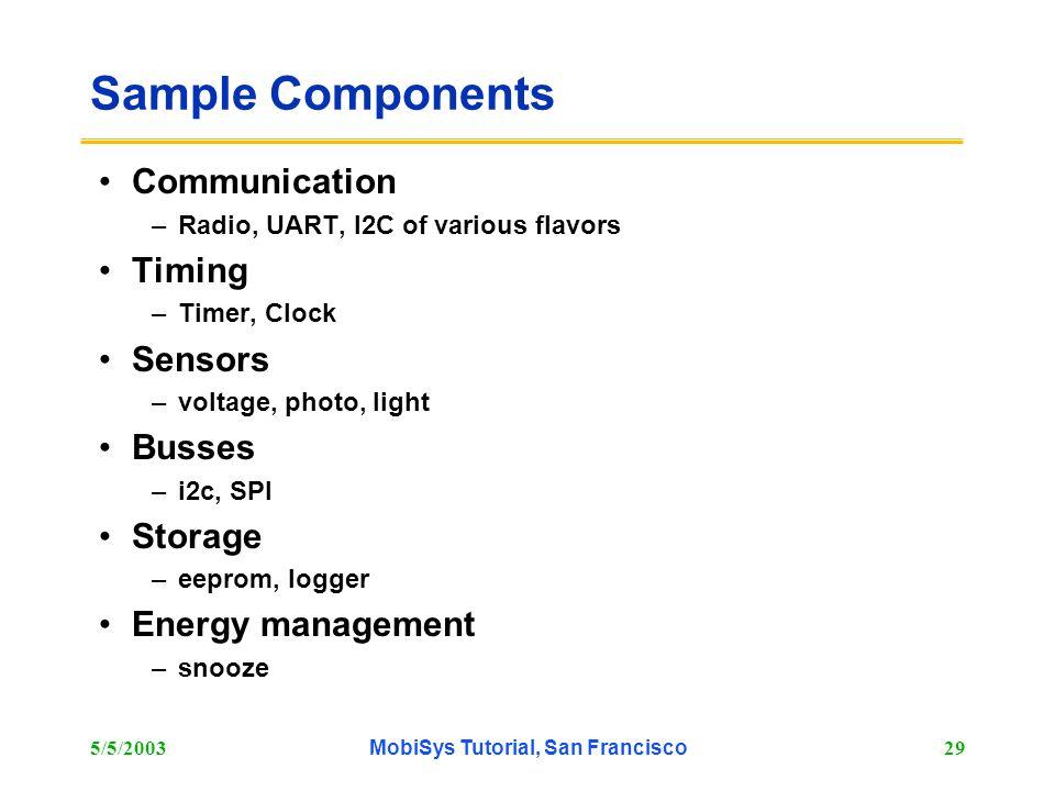 5/5/2003MobiSys Tutorial, San Francisco29 Sample Components Communication –Radio, UART, I2C of various flavors Timing –Timer, Clock Sensors –voltage,