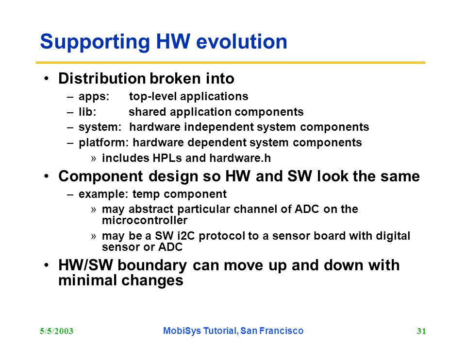 5/5/2003MobiSys Tutorial, San Francisco31 Supporting HW evolution Distribution broken into –apps: top-level applications –lib: shared application comp