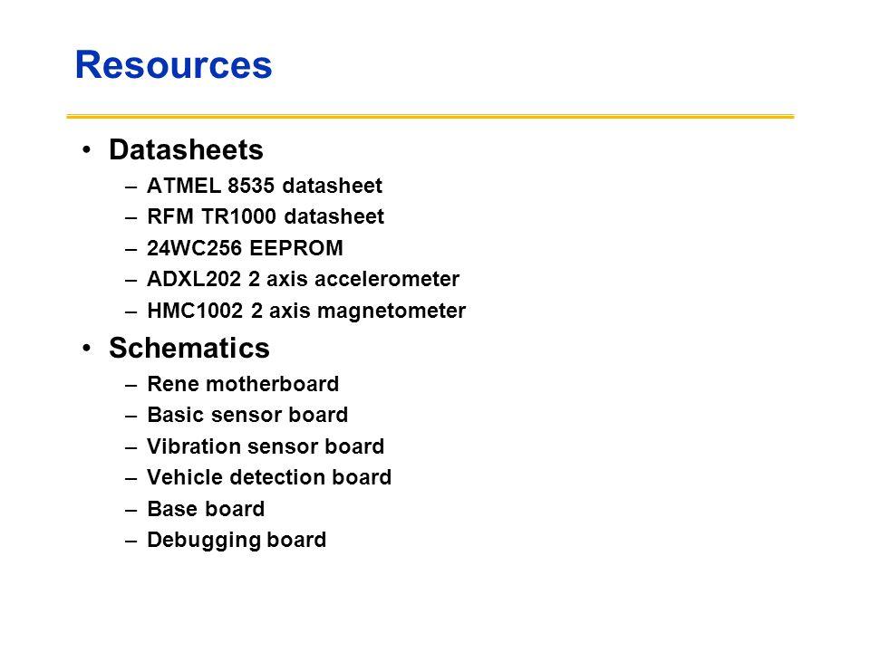 Resources Datasheets –ATMEL 8535 datasheet –RFM TR1000 datasheet –24WC256 EEPROM –ADXL202 2 axis accelerometer –HMC1002 2 axis magnetometer Schematics