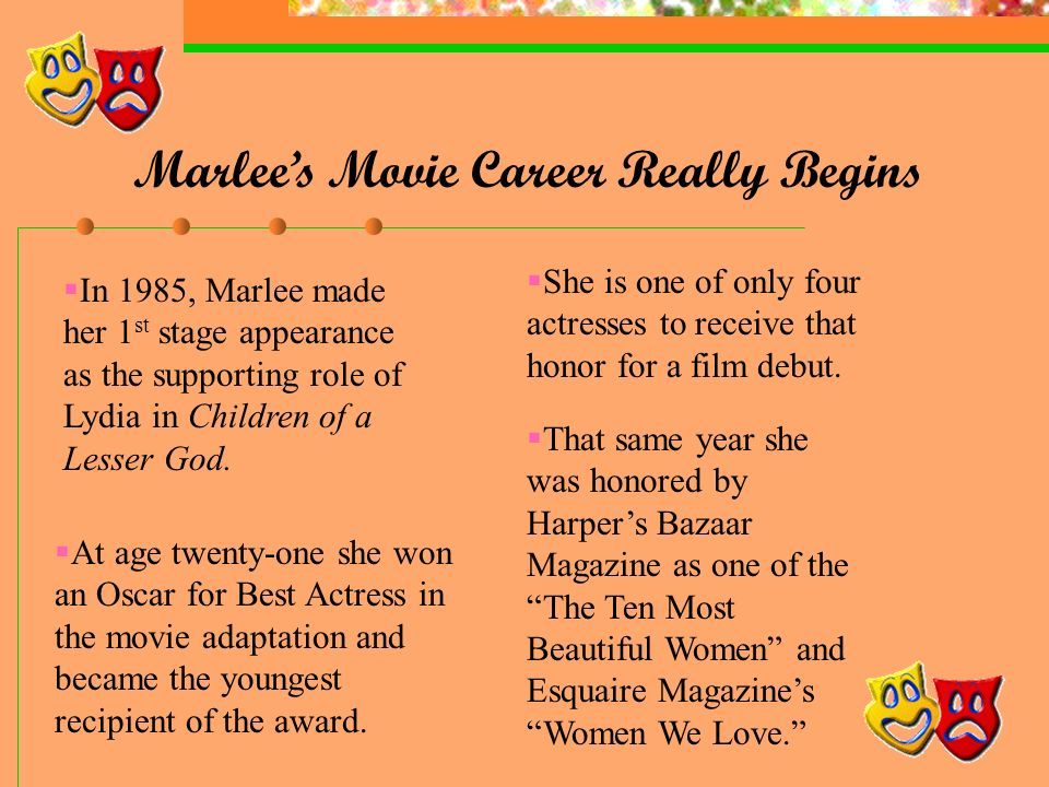 A Star is Born Marlee began her acting career at 7 yrs.