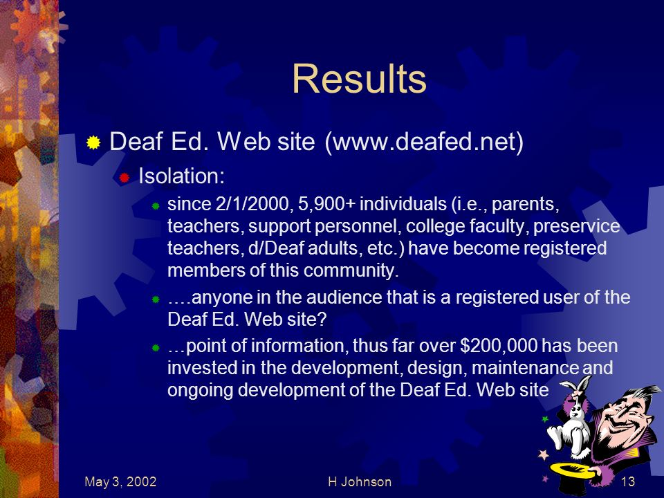 May 3, 2002H Johnson13 Results Deaf Ed.