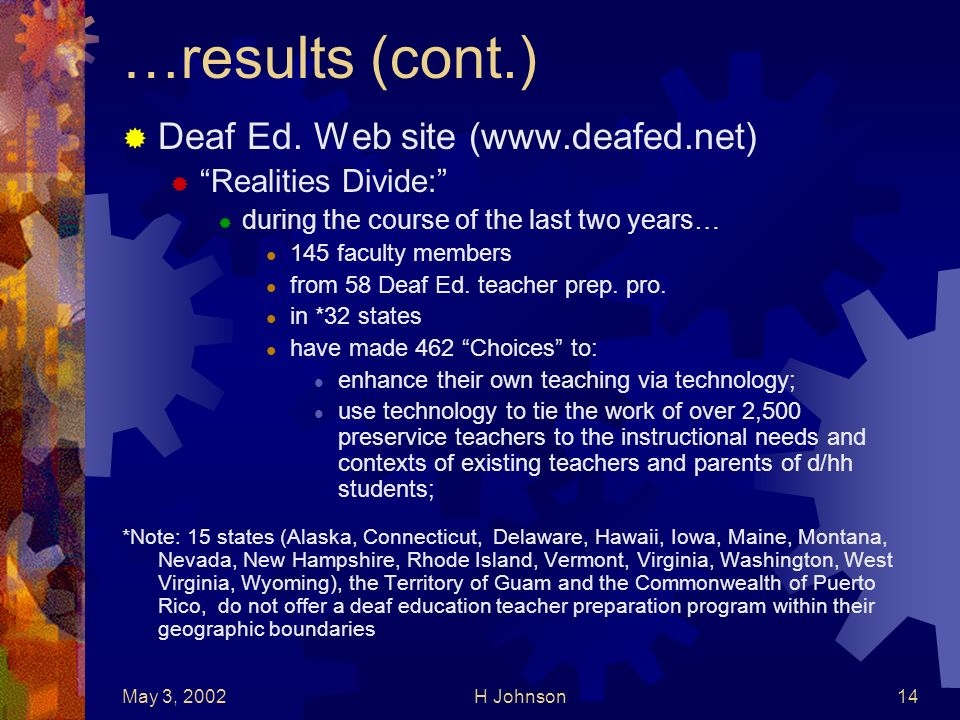 May 3, 2002H Johnson14 …results (cont.) Deaf Ed.