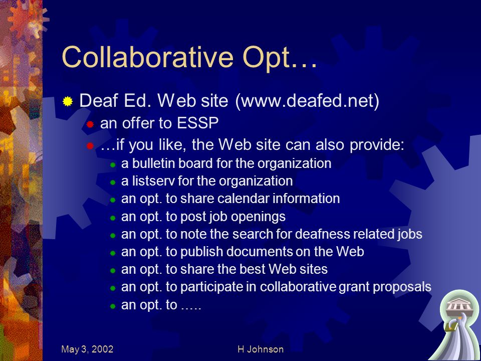 May 3, 2002H Johnson22 Collaborative Opt… Deaf Ed.