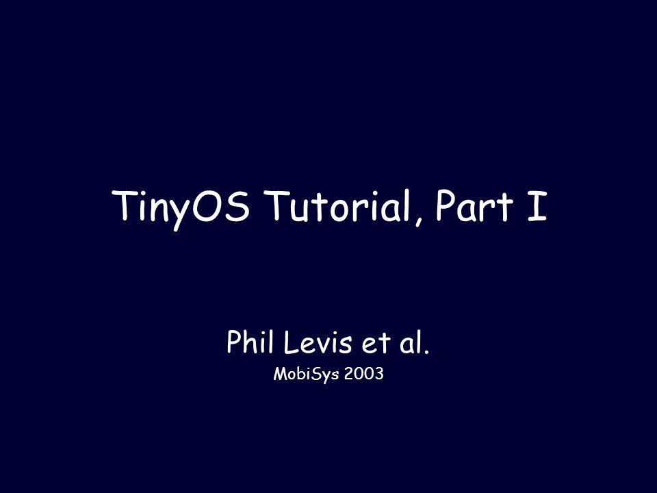 5/5/2003MobiSys 200322 CntToLeds, Revisited ( apps/CntToLeds/CntToLeds.nc ) configuration CntToLeds { } implementation { components Main, Counter, IntToLeds, TimerC; Main.StdControl -> IntToLeds.StdControl; Main.StdControl -> Counter.StdControl; Main.StdControl -> TimerC.StdControl; Counter.Timer -> TimerC.Timer[unique( Timer )]; Counter.IntOutput -> IntToLeds.IntOutput; }