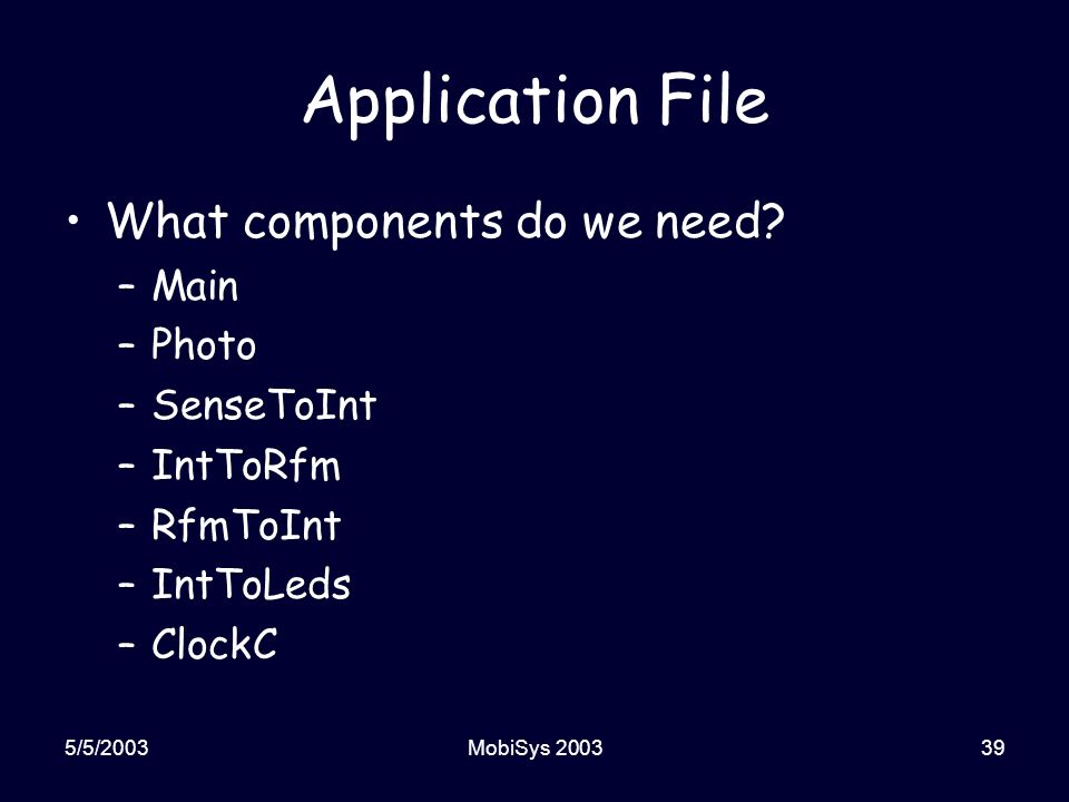 5/5/2003MobiSys 200339 Application File What components do we need.