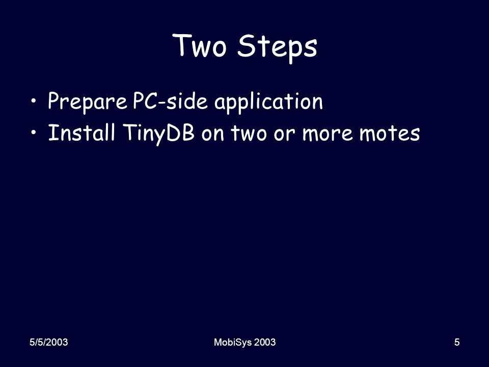 5/5/2003MobiSys 200336 Making a New Application Create a new application directory Create the Makefile Write the code