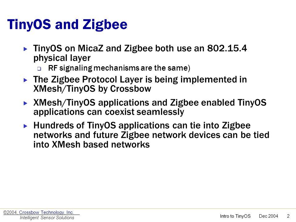 Intro to TinyOS Intro to TinyOS Dec 2004 2 ©2004, Crossbow Technology, Inc. Intelligent Sensor Solutions TinyOS and Zigbee TinyOS on MicaZ and Zigbee