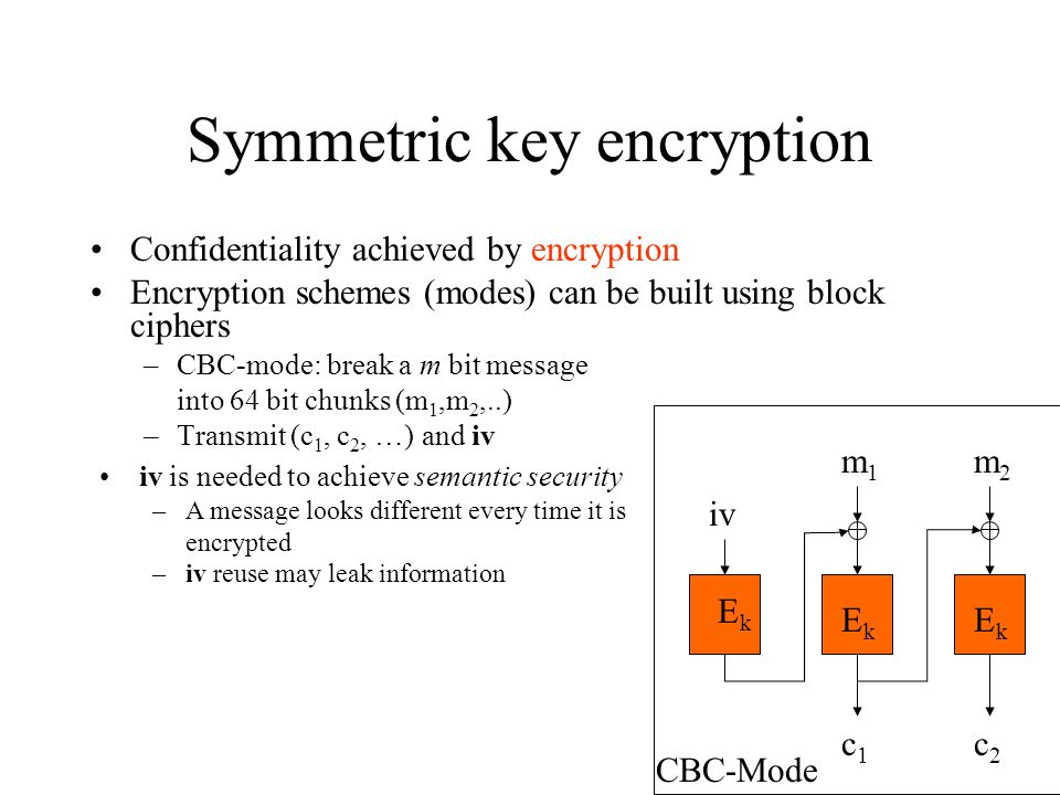 Symmetric key encryption Confidentiality achieved by encryption Encryption schemes (modes) can be built using block ciphers –CBC-mode: break a m bit message into 64 bit chunks (m 1,m 2,..) –Transmit (c 1, c 2, …) and iv iv m2m2 m1m1 c1c1 c2c2 EkEk EkEk EkEk CBC-Mode iv is needed to achieve semantic security –A message looks different every time it is encrypted –iv reuse may leak information