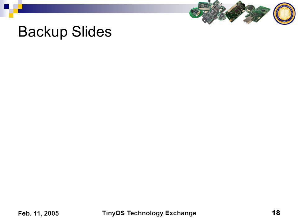 TinyOS Technology Exchange18 Feb. 11, 2005 Backup Slides