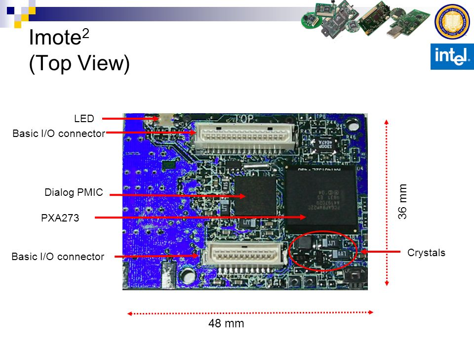 Imote 2 (Top View) Basic I/O connector Dialog PMIC 36 mm 48 mm PXA273 LED Crystals
