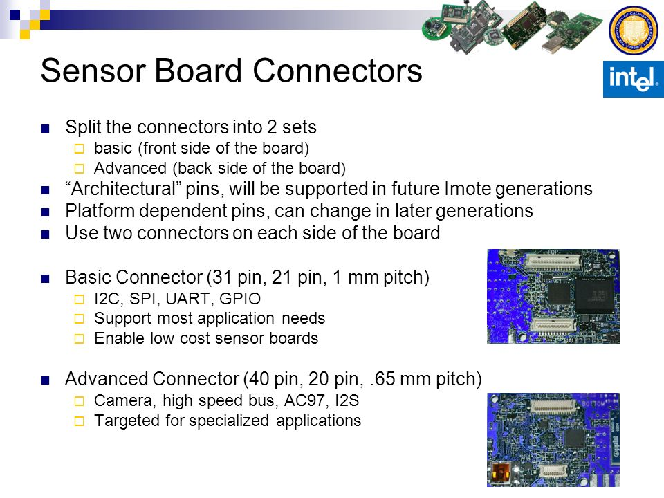 Sensor Board Connectors Split the connectors into 2 sets basic (front side of the board) Advanced (back side of the board) Architectural pins, will be