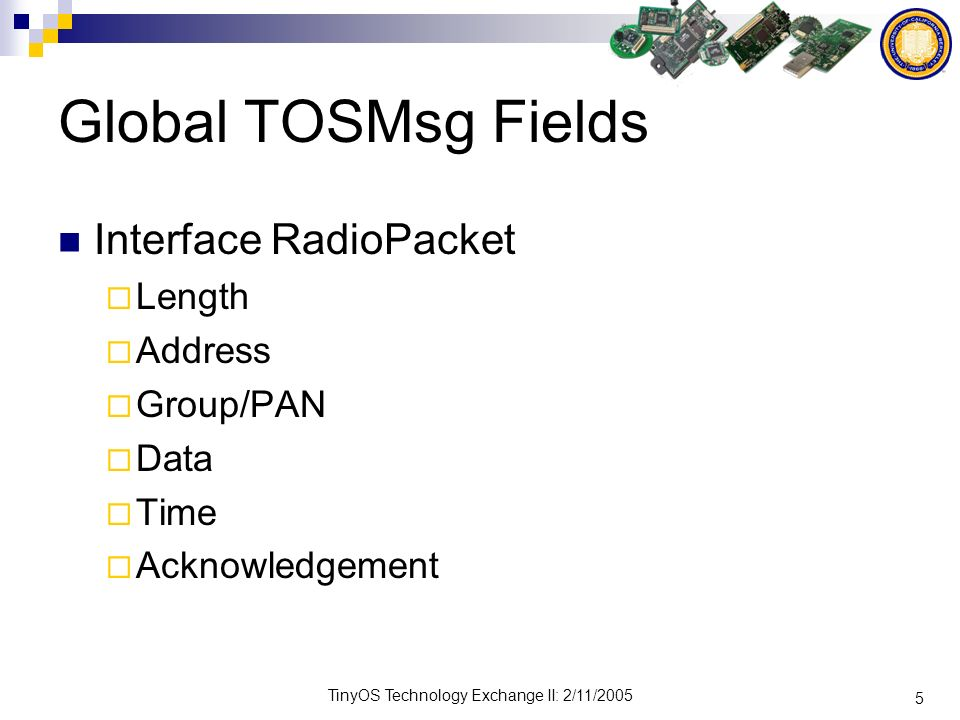 5 TinyOS Technology Exchange II: 2/11/2005 Global TOSMsg Fields Interface RadioPacket Length Address Group/PAN Data Time Acknowledgement