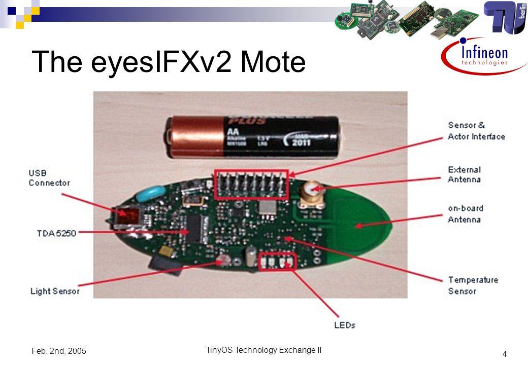 4 TinyOS Technology Exchange II Feb. 2nd, 2005 The eyesIFXv2 Mote