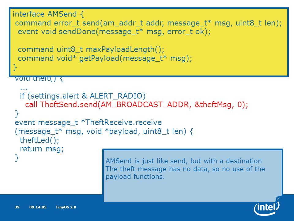 09.14.05TinyOS 2.039 Basic Networking uses interface AMSend as TheftSend; uses interface Receive as TheftReceive;...