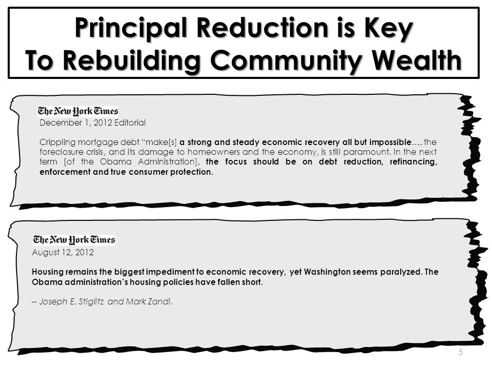 5 Principal Reduction is Key To Rebuilding Community Wealth December 1, 2012 Editorial Crippling mortgage debt make[s] a strong and steady economic recovery all but impossible ….