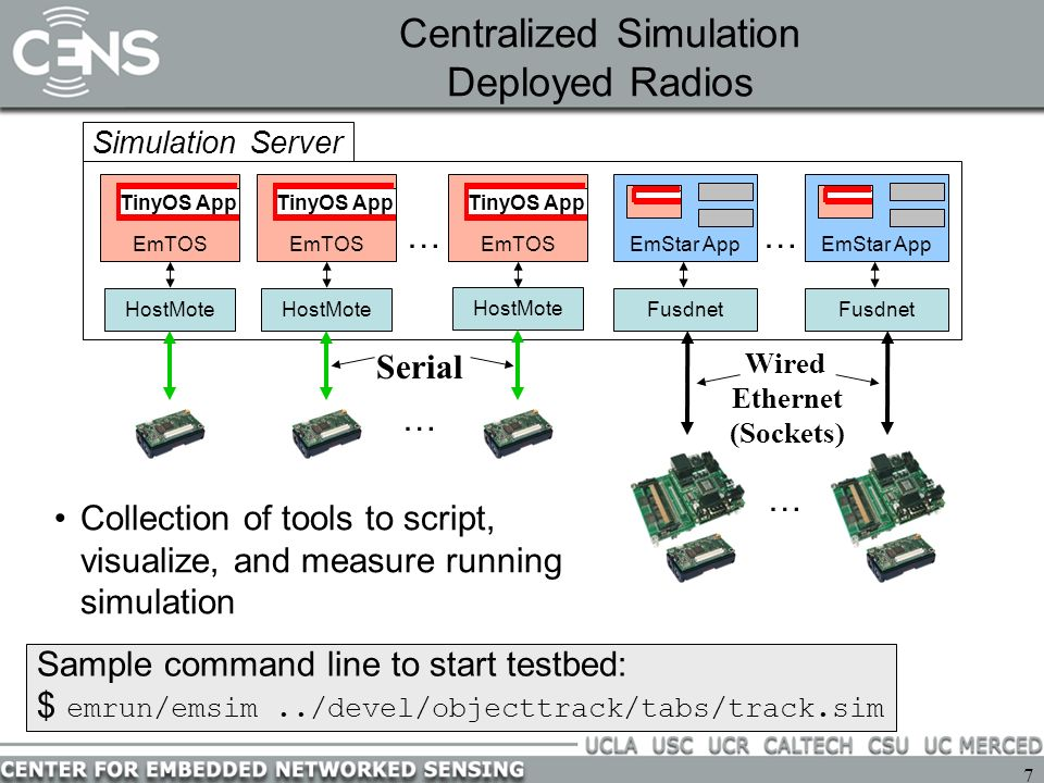 7 Centralized Simulation Deployed Radios … HostMote EmTOS TinyOS App Simulation Server EmTOS TinyOS App EmTOS TinyOS App Fusdnet … … … HostMote Serial Wired Ethernet (Sockets) Fusdnet EmStar App Sample command line to start testbed: $ emrun/emsim../devel/objecttrack/tabs/track.sim Collection of tools to script, visualize, and measure running simulation