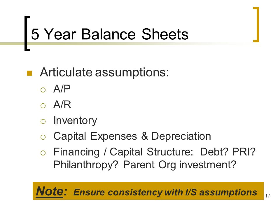 17 5 Year Balance Sheets Articulate assumptions: A/P A/R Inventory Capital Expenses & Depreciation Financing / Capital Structure: Debt? PRI? Philanthr