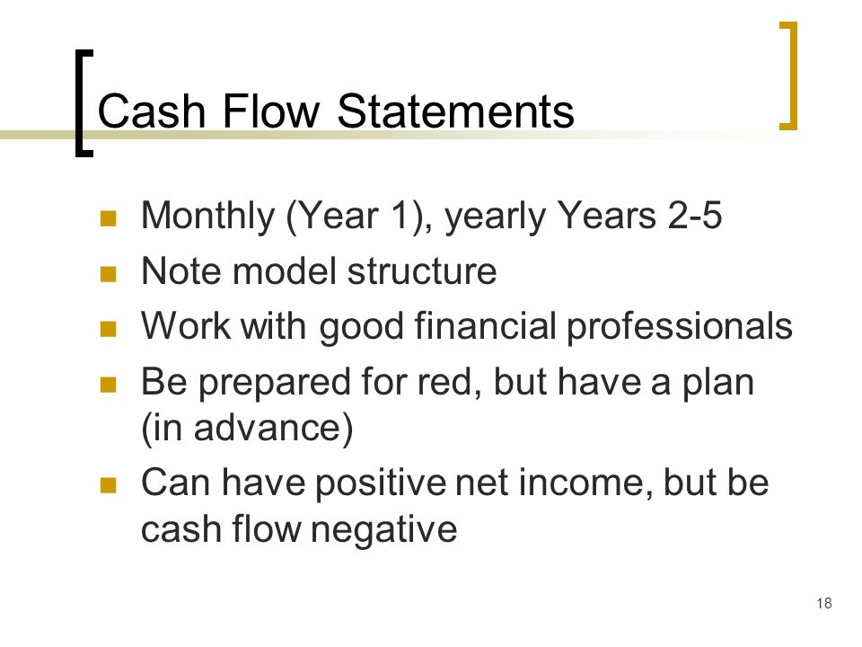 18 Cash Flow Statements Monthly (Year 1), yearly Years 2-5 Note model structure Work with good financial professionals Be prepared for red, but have a