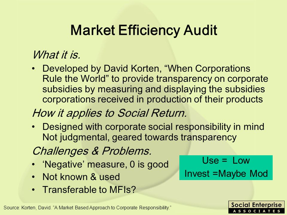 SEEP - 10/03 Market Efficiency Audit What it is.