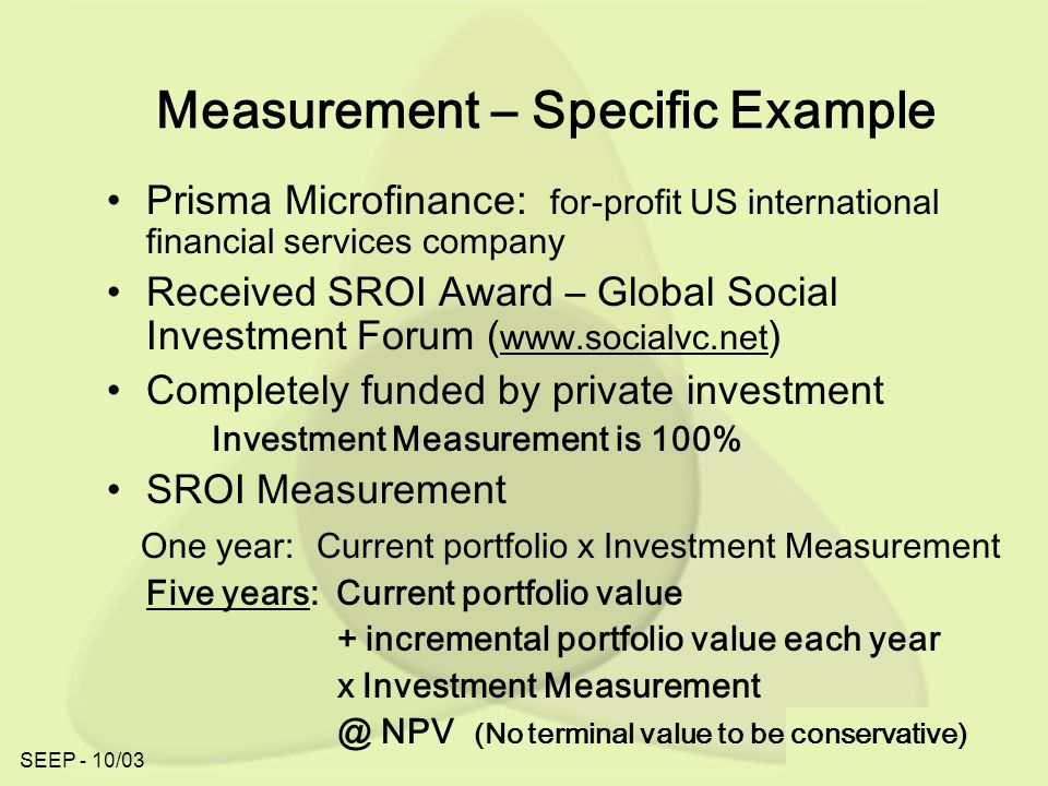 SEEP - 10/03 Measurement – Specific Example Prisma Microfinance: for-profit US international financial services company Received SROI Award – Global Social Investment Forum ( www.socialvc.net ) Completely funded by private investment Investment Measurement is 100% SROI Measurement One year: Current portfolio x Investment Measurement Five years: Current portfolio value + incremental portfolio value each year x Investment Measurement @ NPV (No terminal value to be conservative)