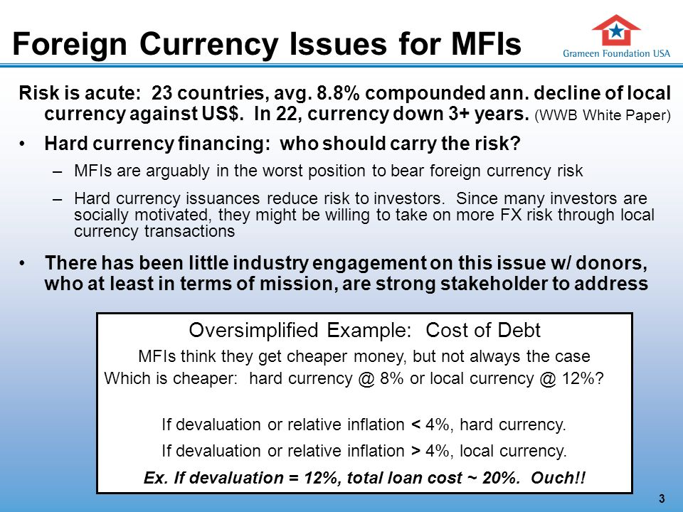 3 Foreign Currency Issues for MFIs Risk is acute: 23 countries, avg.