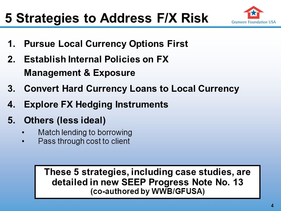 4 5 Strategies to Address F/X Risk 1.Pursue Local Currency Options First 2.Establish Internal Policies on FX Management & Exposure 3.Convert Hard Currency Loans to Local Currency 4.Explore FX Hedging Instruments 5.Others (less ideal) Match lending to borrowing Pass through cost to client These 5 strategies, including case studies, are detailed in new SEEP Progress Note No.