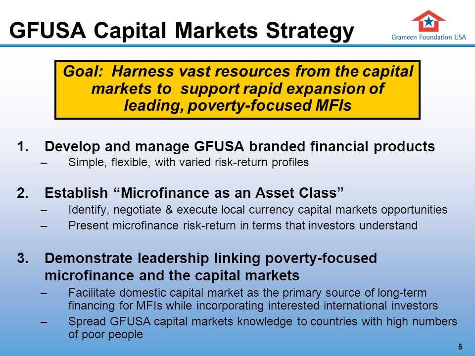5 Goal: Harness vast resources from the capital markets to support rapid expansion of leading, poverty-focused MFIs GFUSA Capital Markets Strategy 1.Develop and manage GFUSA branded financial products –Simple, flexible, with varied risk-return profiles 2.Establish Microfinance as an Asset Class –Identify, negotiate & execute local currency capital markets opportunities –Present microfinance risk-return in terms that investors understand 3.Demonstrate leadership linking poverty-focused microfinance and the capital markets –Facilitate domestic capital market as the primary source of long-term financing for MFIs while incorporating interested international investors –Spread GFUSA capital markets knowledge to countries with high numbers of poor people