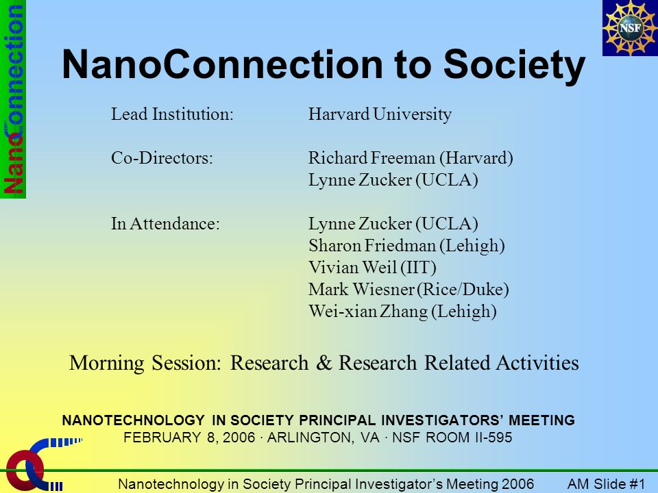 AM Slide #1Nanotechnology in Society Principal Investigators Meeting 2006 NanoConnection to Society NANOTECHNOLOGY IN SOCIETY PRINCIPAL INVESTIGATORS MEETING FEBRUARY 8, 2006 · ARLINGTON, VA · NSF ROOM II-595 Lead Institution: Harvard University Co-Directors: Richard Freeman (Harvard) Lynne Zucker (UCLA) In Attendance:Lynne Zucker (UCLA) Sharon Friedman (Lehigh) Vivian Weil (IIT) Mark Wiesner (Rice/Duke) Wei-xian Zhang (Lehigh) Morning Session: Research & Research Related Activities